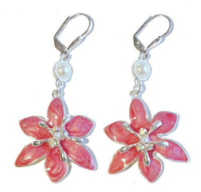 Lily Drop Earring Silver Raspberry