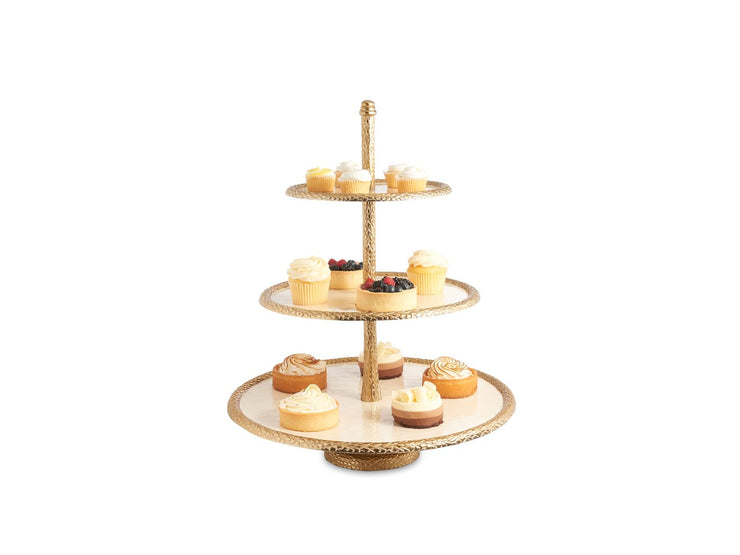 "Florentine 18"" Three-Tiered Server Gold Snow"