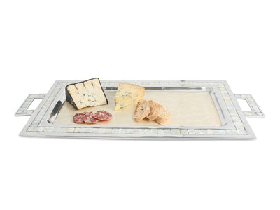 "Classic 25"" Rectangular Tray w/Handles Snow"