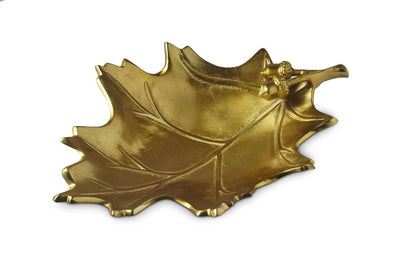 "Oak Leaf 15"" Bowl Gold"