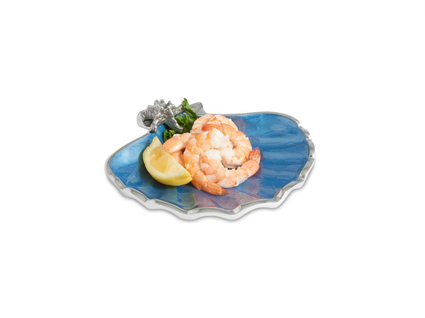 "Scallop Starfish 8.5"" Bowl Azure"