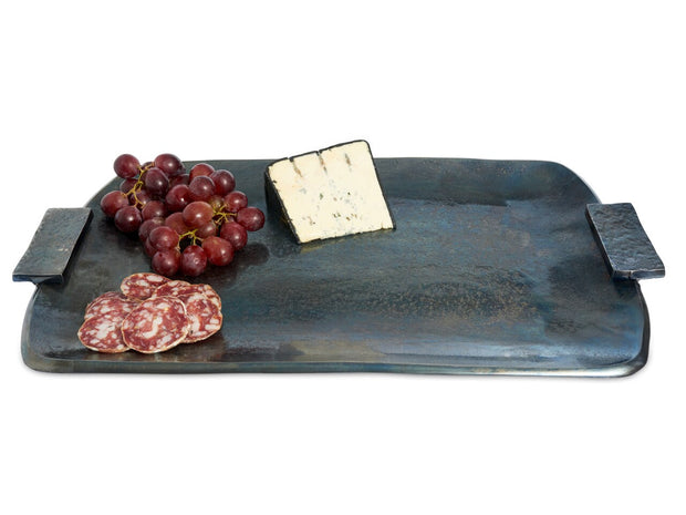"Eclipse 21"" Rectangular Tray with Handles Steel Blue"