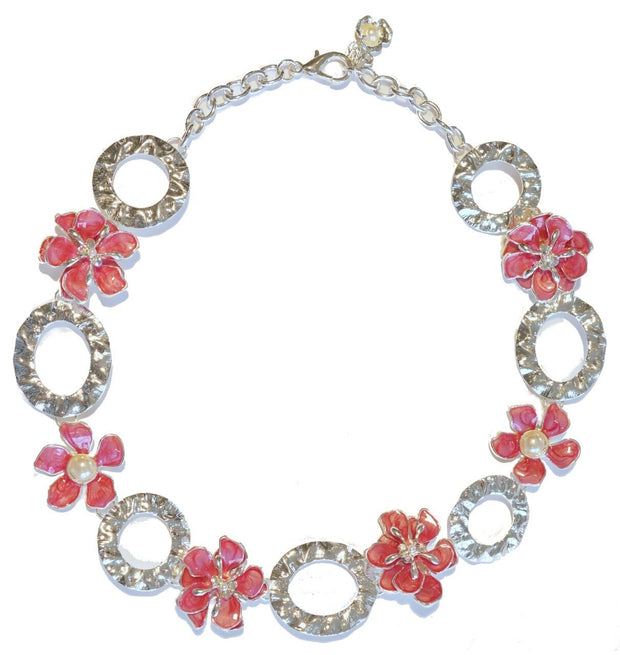Dogwood Blossom Link Necklace Silver Raspberry
