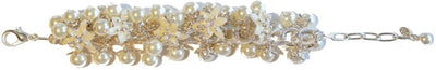 Lily Blossom Pearl Cluster Bracelet Silver Snow