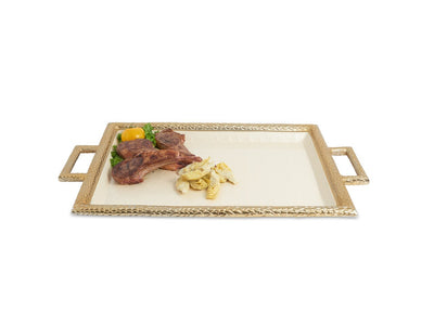 "Florentine 23"" Beveled Tray with Handles Gold Snow"