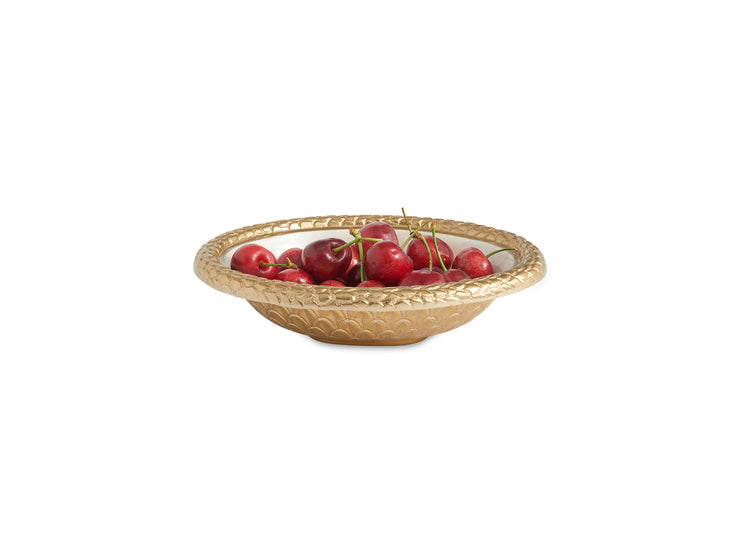 "Florentine 8"" Oval Bowl Gold Snow"