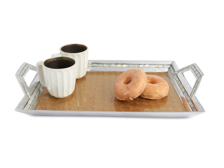 "Classic 21"" Beveled Tray w/Handles Toffee"