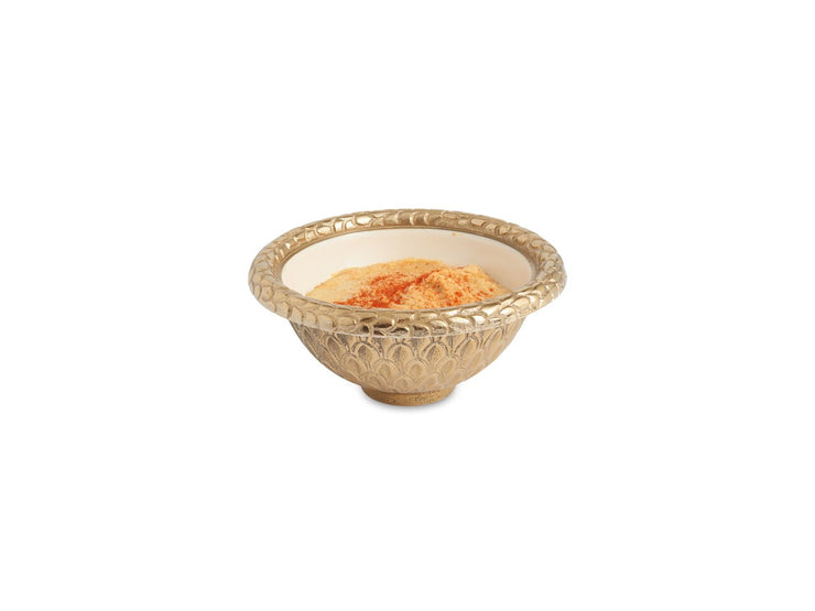 "Florentine 4.25"" Round Bowl Gold Snow"