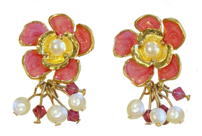 Dogwood Cluster Earring Gold Raspberry