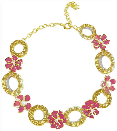 Dogwood Blossom Link Necklace Gold Raspberry