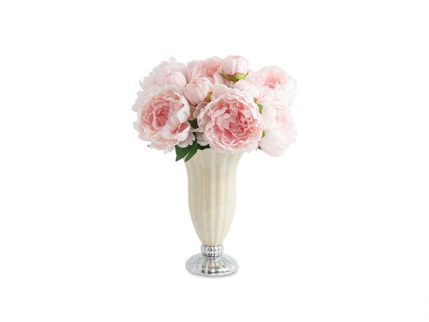 "Peony Pure Color 12"" Vase Snow"