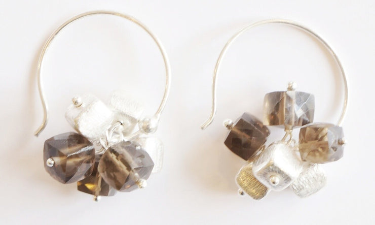 Cube Gem Cluster Earring Silver Toffee