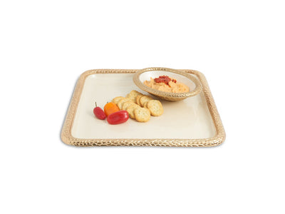 "Florentine 15"" Square Tray Gold Snow"