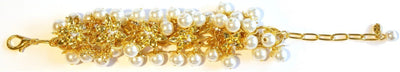 Lily Blossom Pearl Cluster Bracelet Gold