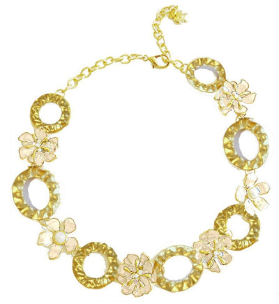 Dogwood Blossom Link Necklace Gold Snow