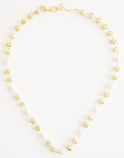 Cube Gem Bead Necklace Gold Pearl