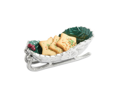 "Holly Sprig 8"" Sleigh Bowl Emerald"