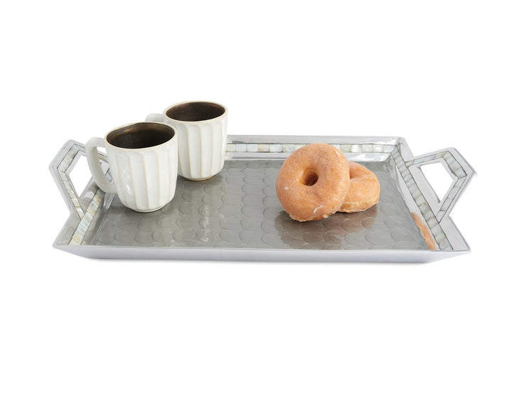 "Classic 21"" Beveled Tray w/Handles Platinum"
