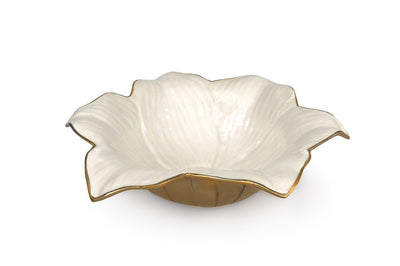 "Lily 15"" Bowl Gold Snow"