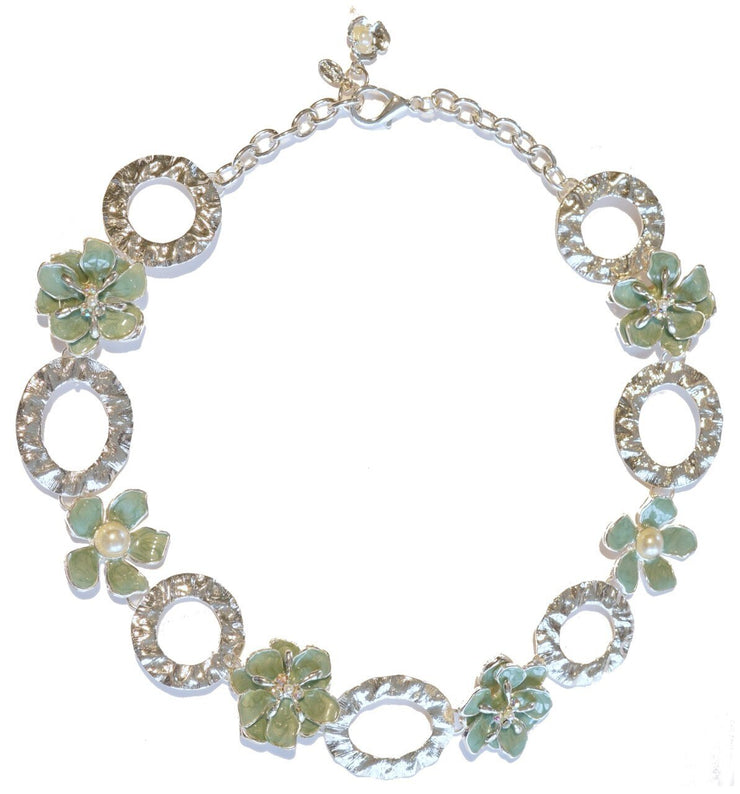 Dogwood Blossom Link Necklace Silver Turquoise