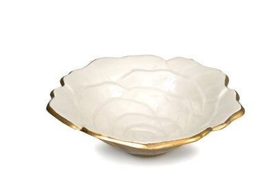 "Rose 8"" Bowl Gold Snow"