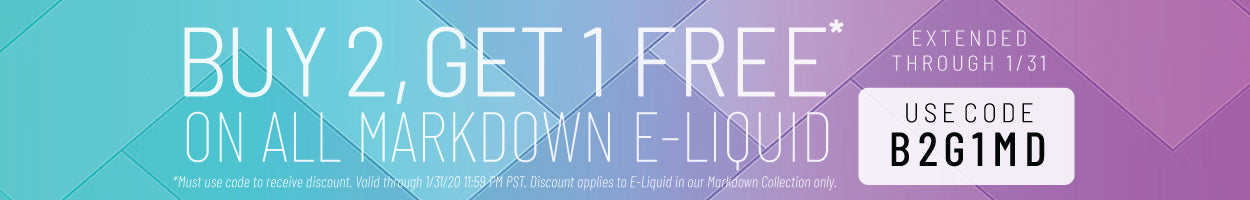 Buy 2, Get 1 Free on all Markdown E-Juice