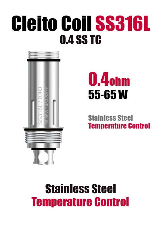 Aspire Cleito Coil 0.4ohm (55W-65W) - Stainless Steel Temperature Control - Default Title