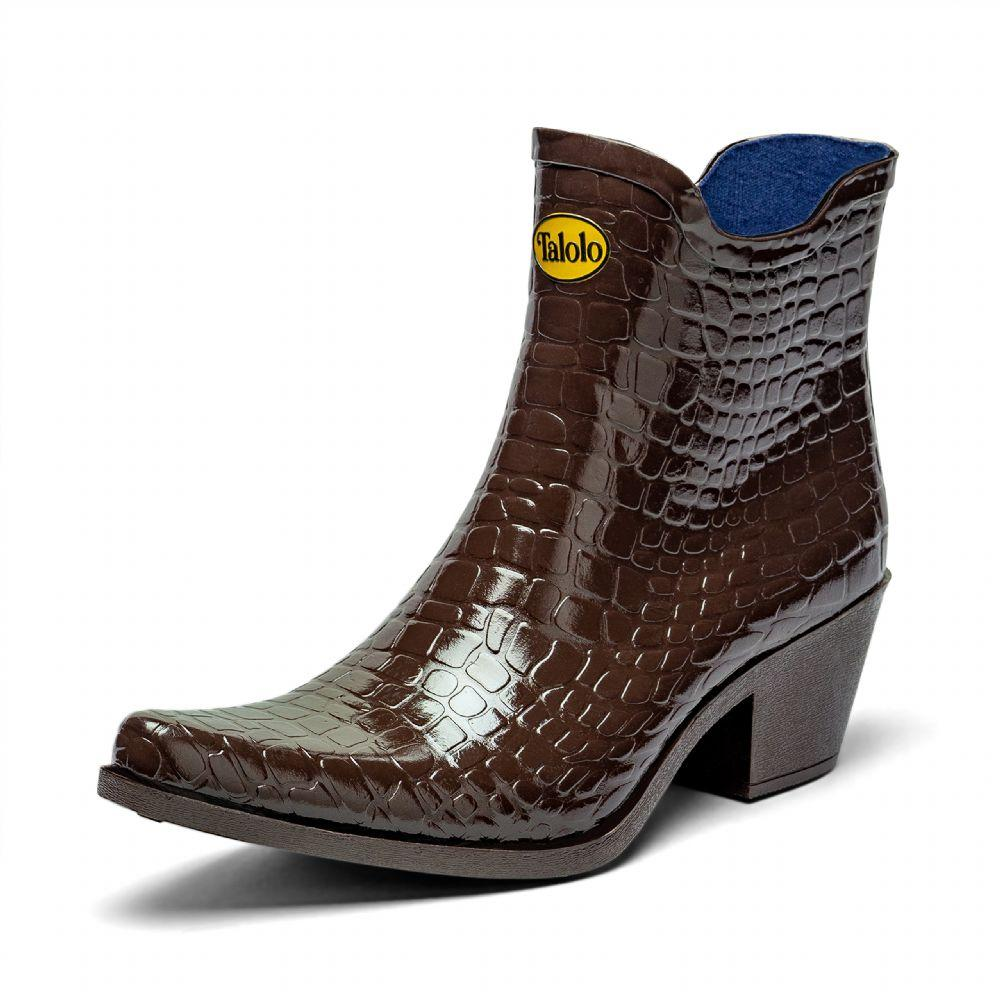 Boho mock croc ankle cowboy boot wellies - Talolo Boots