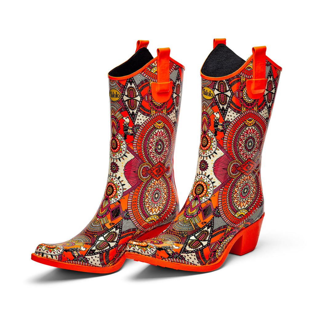 Aztec Funk orange cowboy boot wellies - Talolo Boots