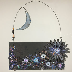 """I Love the Moon"" Mixed Media Canvas Panel"