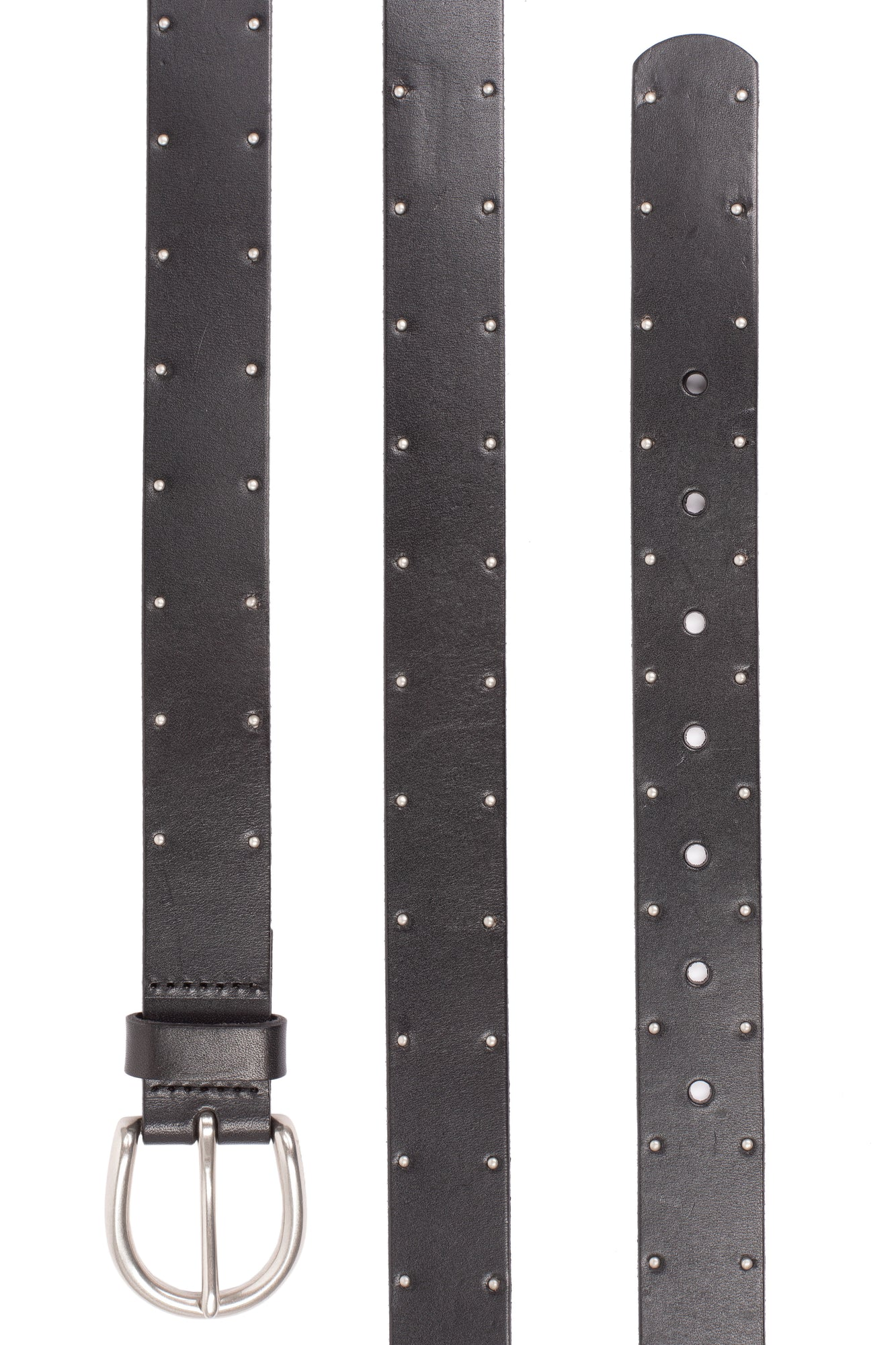 Leather Belt With Studding  - BLACK