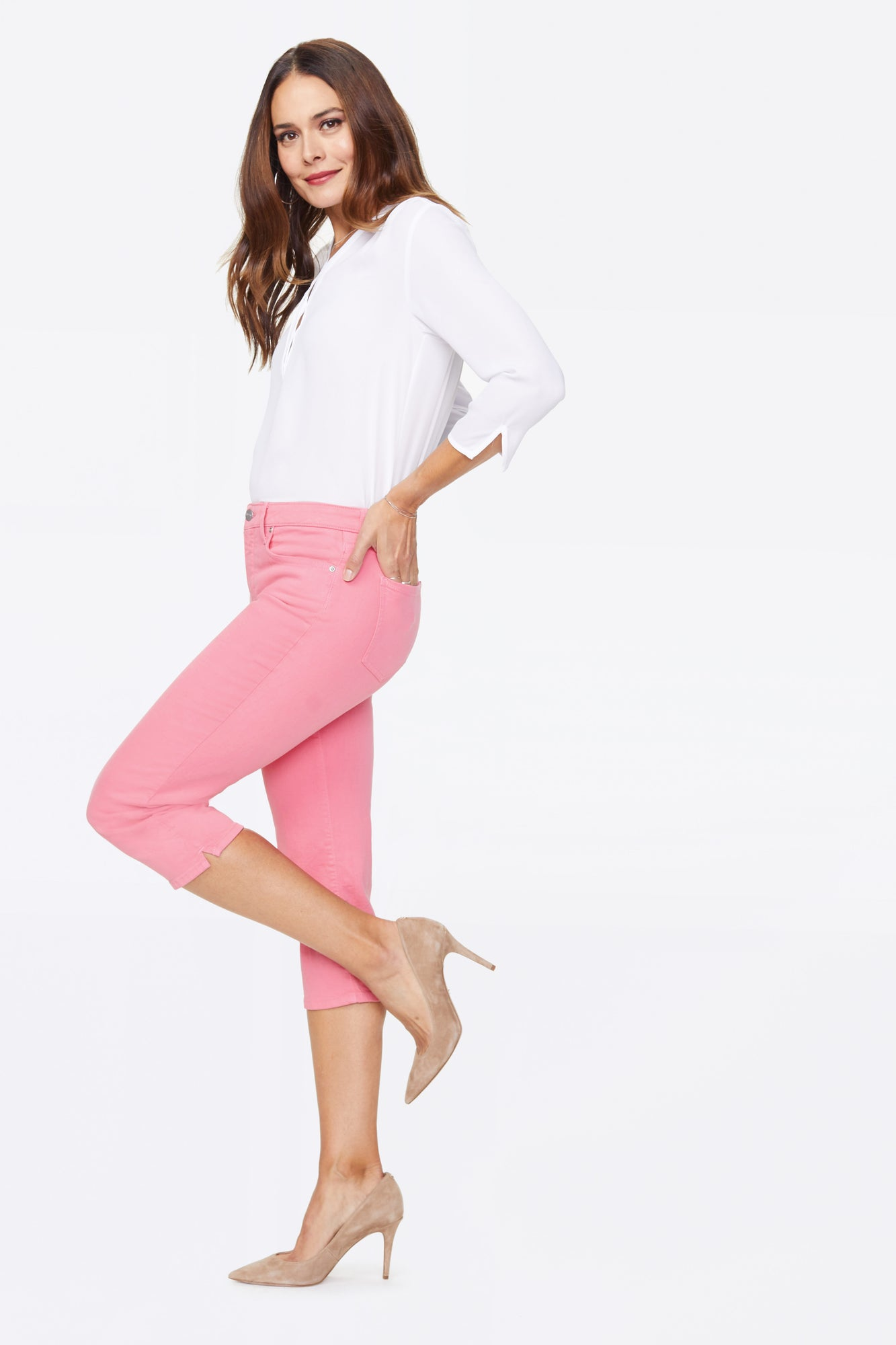 Slim Straight Crop Jeans - PINK FLAMINGO