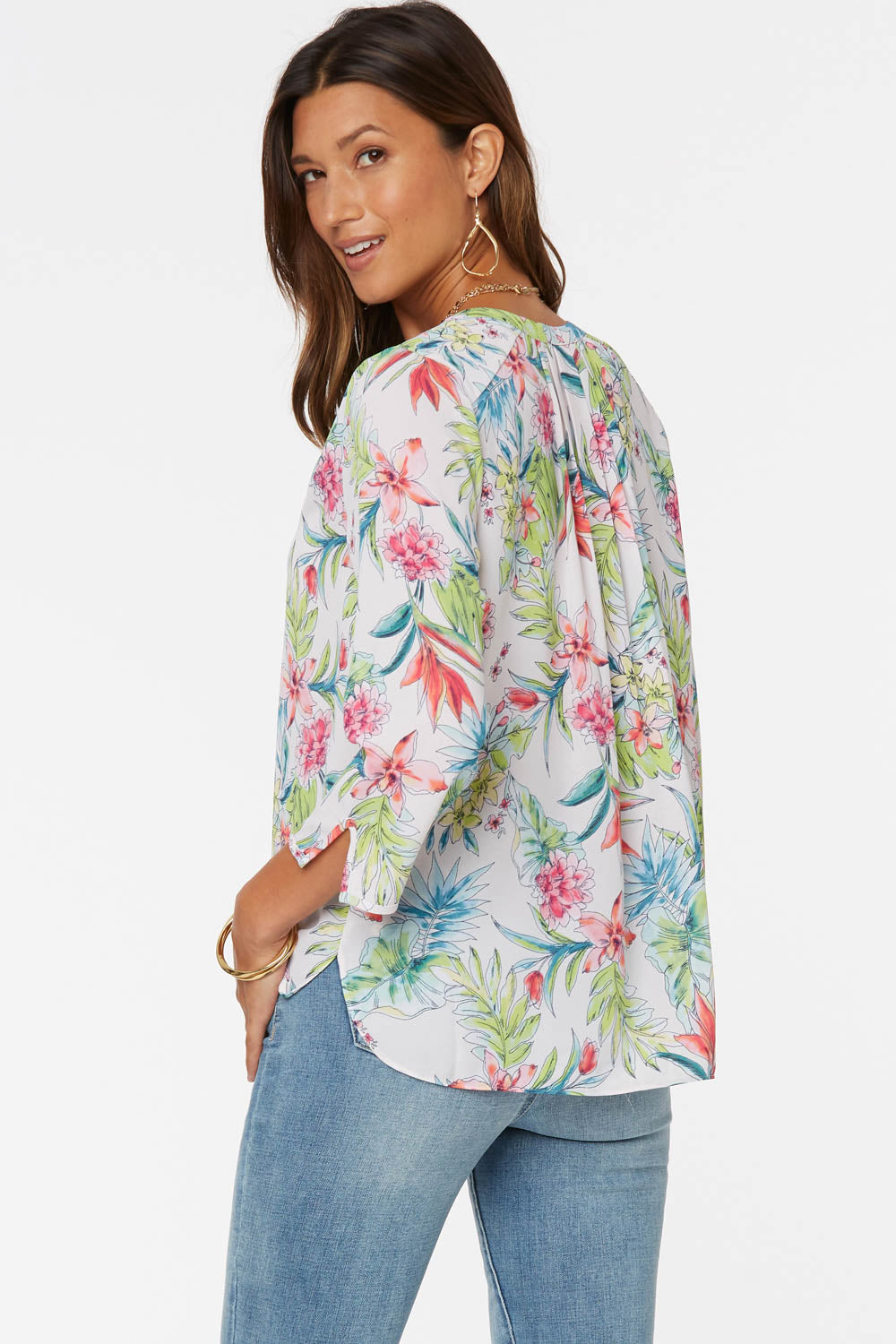 The Perfect Blouse - TROPICAL GARDEN WHITE