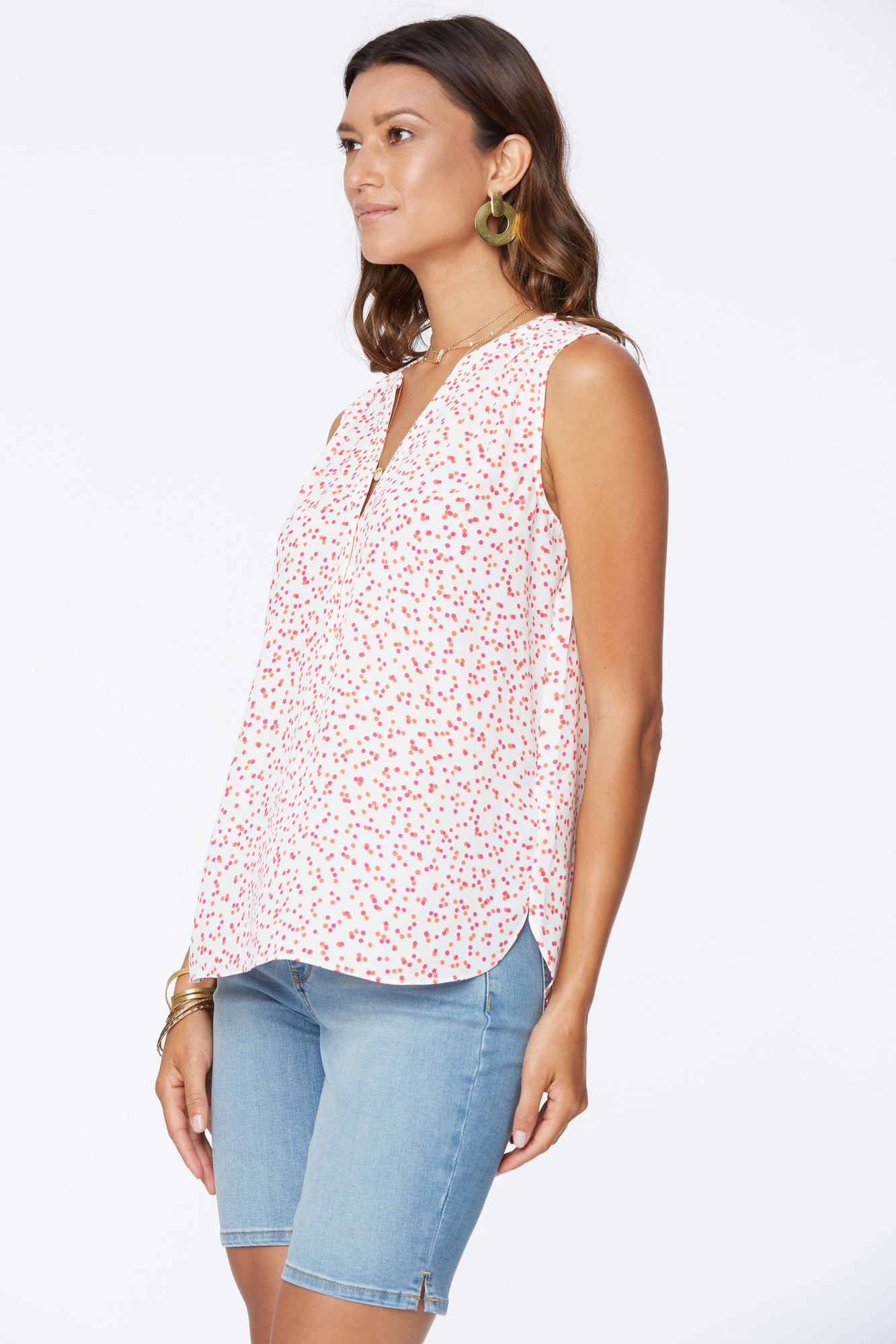 The Sleeveless Perfect Blouse - PISCO DOT CORAL