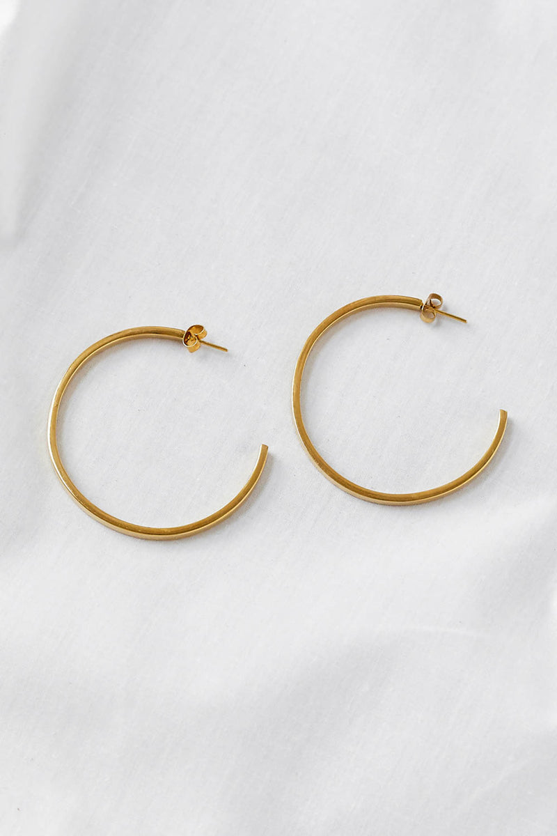 Ellsworth Large Hoop Earrings - BRASS