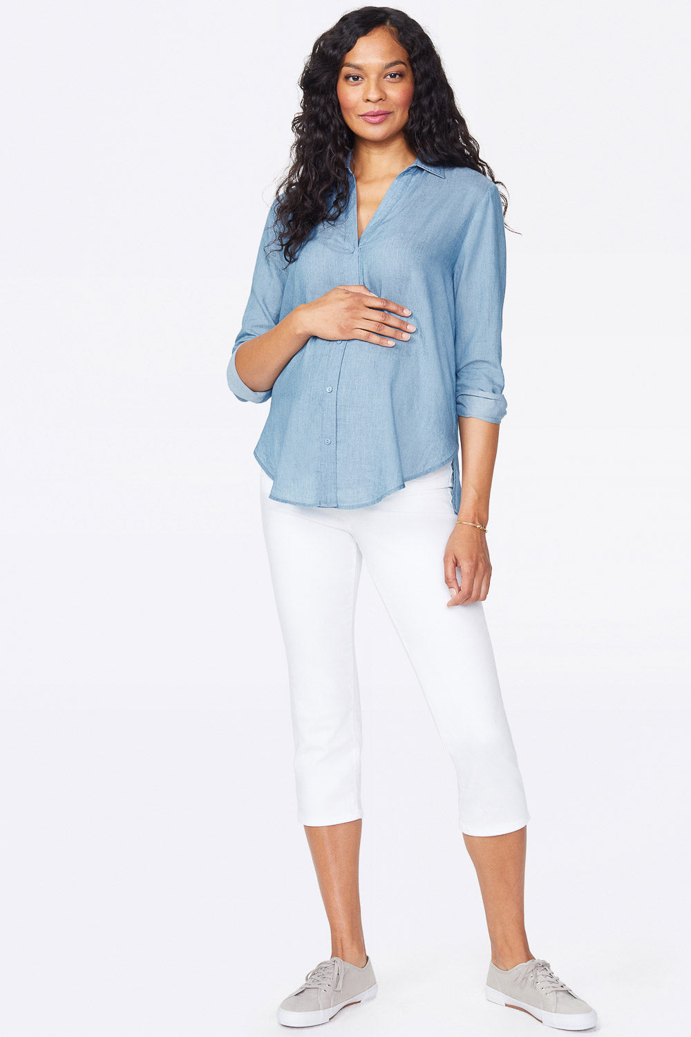 Skinny Crop Maternity Jeans - OPTIC WHITE