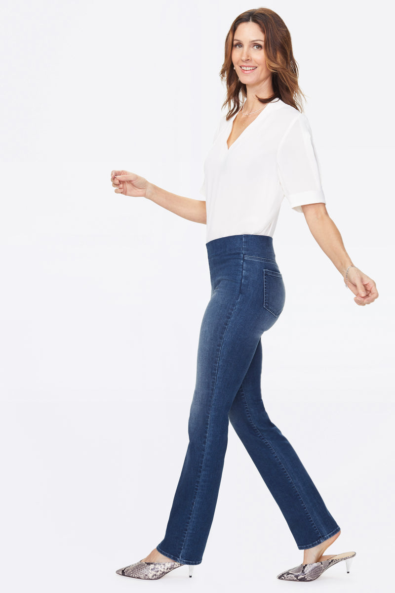 Marilyn Straight Pull-On Jeans - CLEAN SOLANA