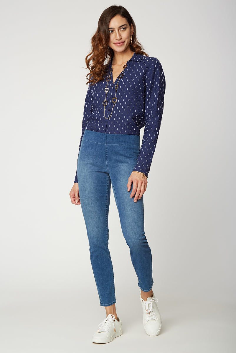 Skinny Ankle Pull-On Jeans - DELEON