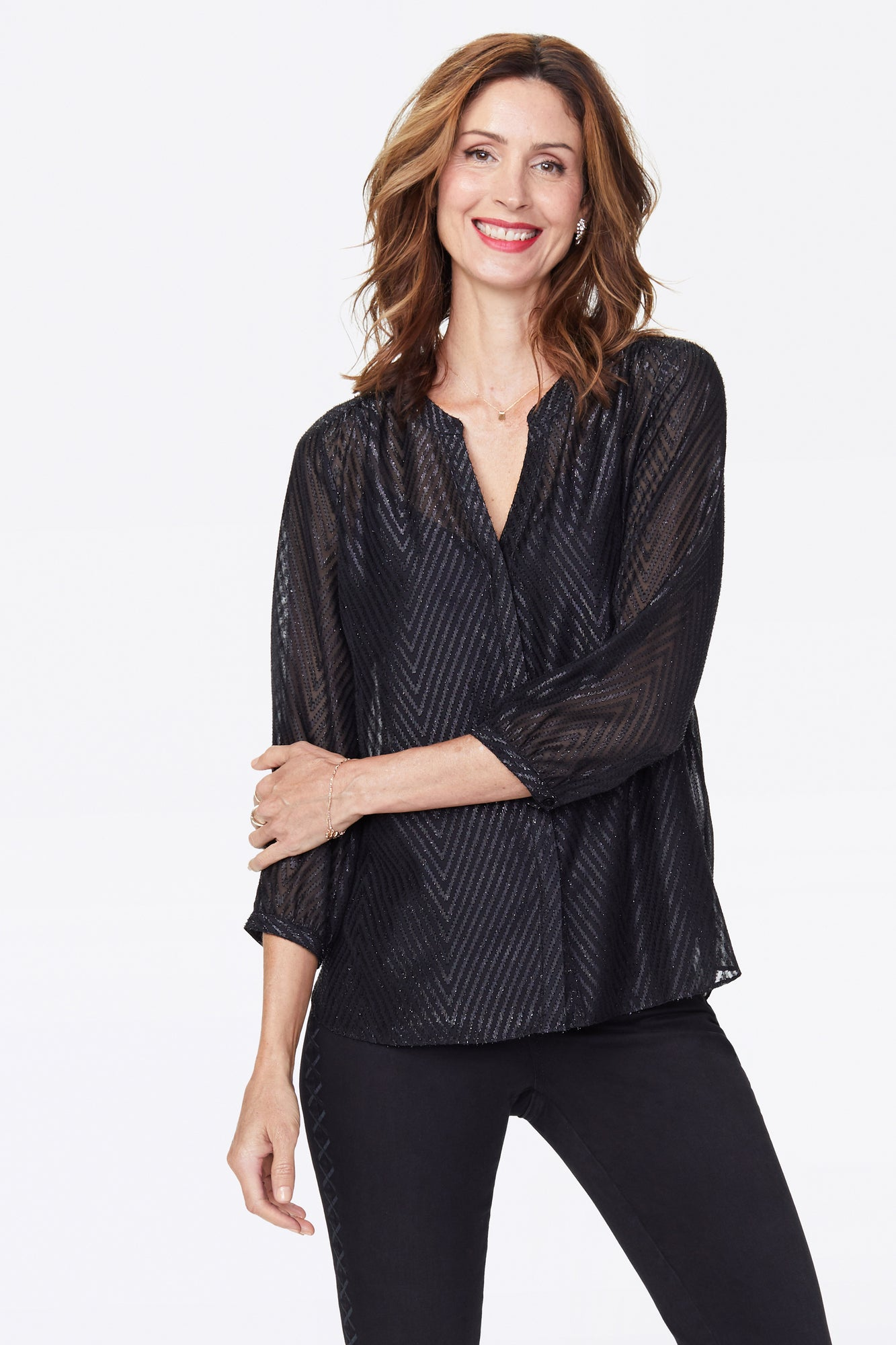 Lurex Pintuck Blouse - BLACK
