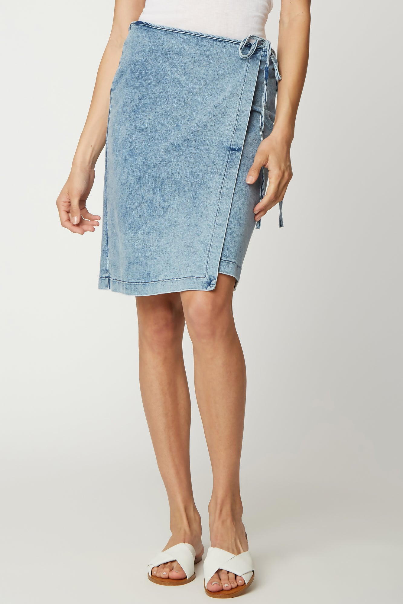 Tied Wrap Skirt - LIGHT ACID WASH