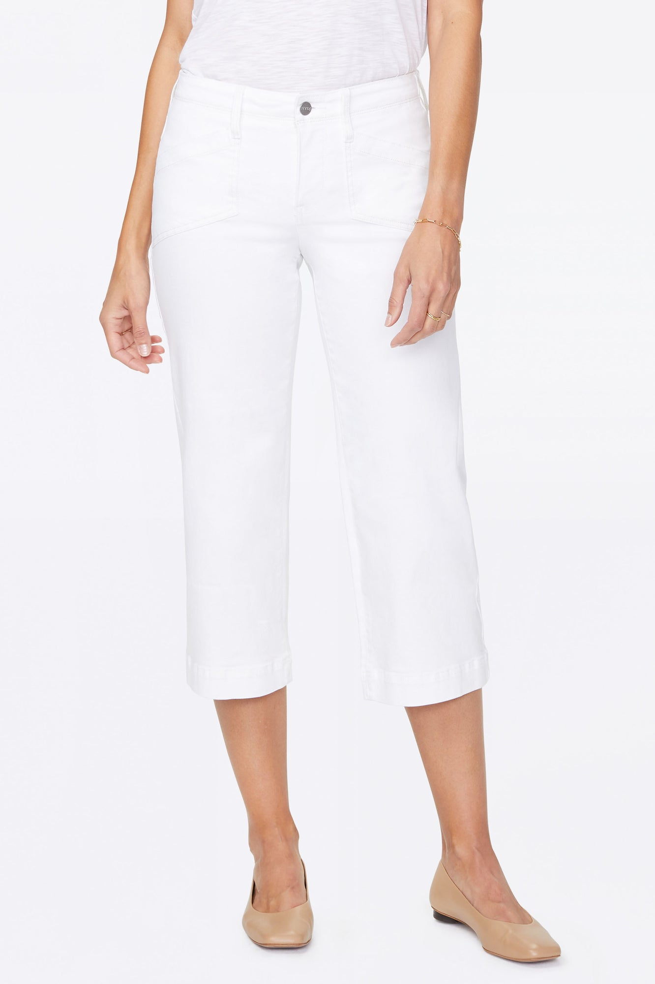 Wide Leg Capri Jeans - OPTIC WHITE