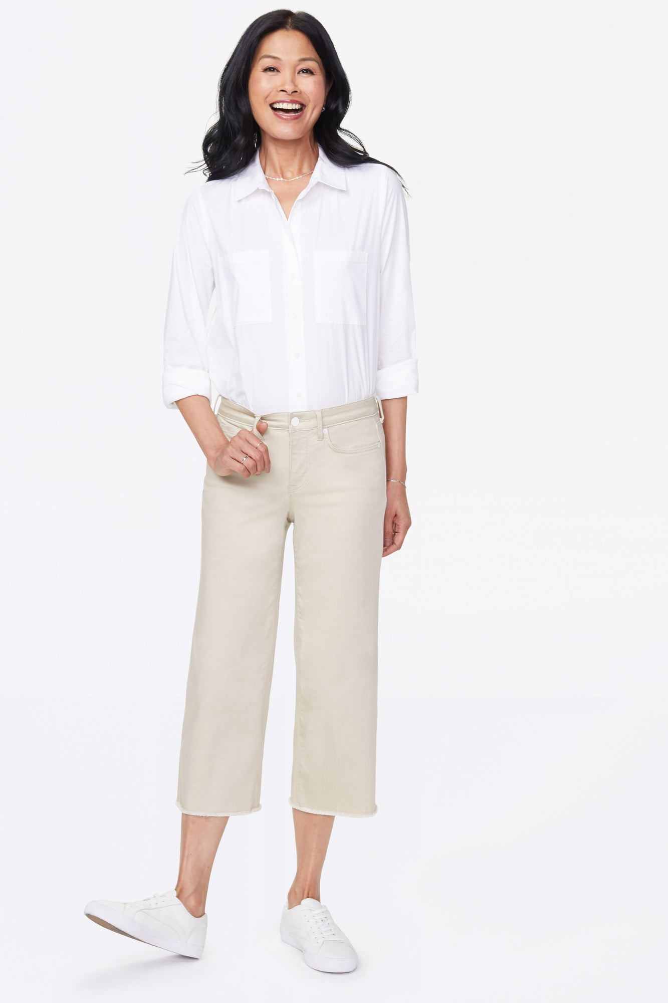 Wide Leg Capri Jeans - FEATHER