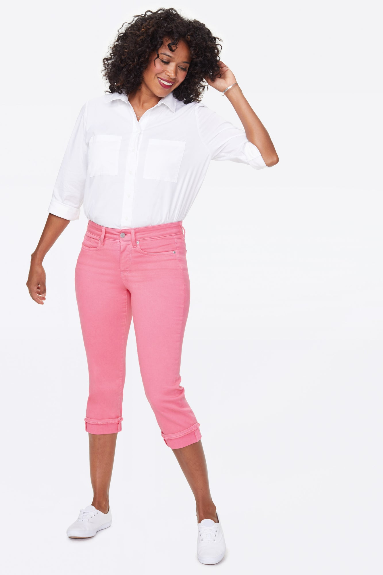Marilyn Straight Crop Jeans - PINK FLAMINGO