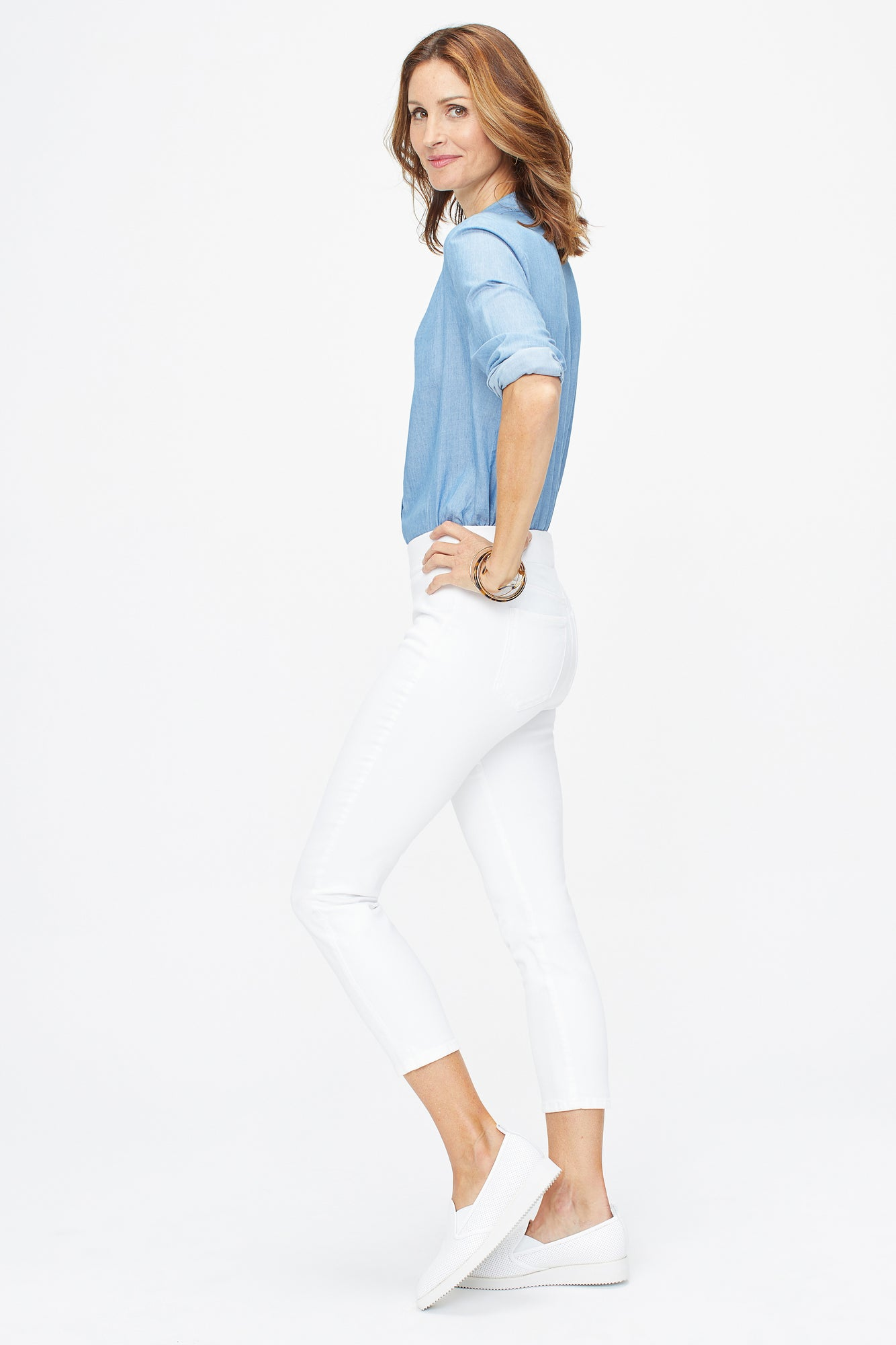 Skinny Ankle Pull-On Jeans - OPTIC WHITE
