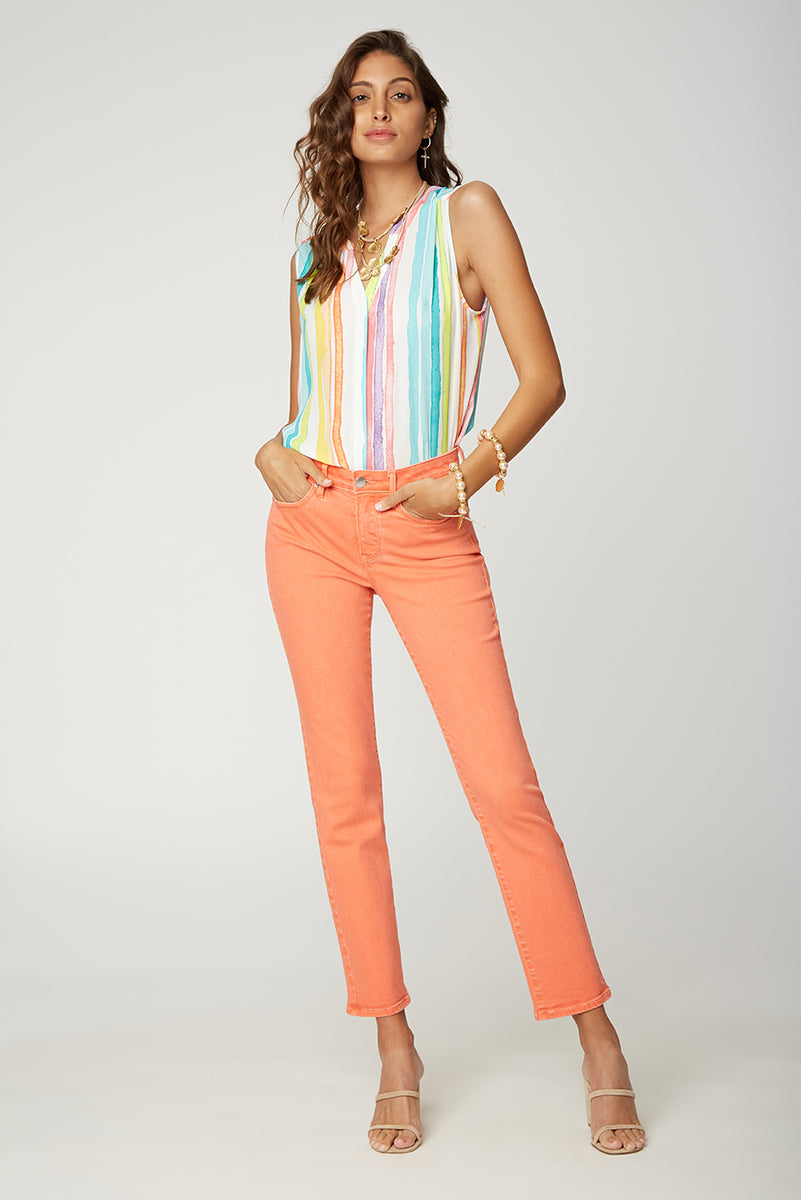 Sheri Slim Ankle Jeans - CORAL FLAME