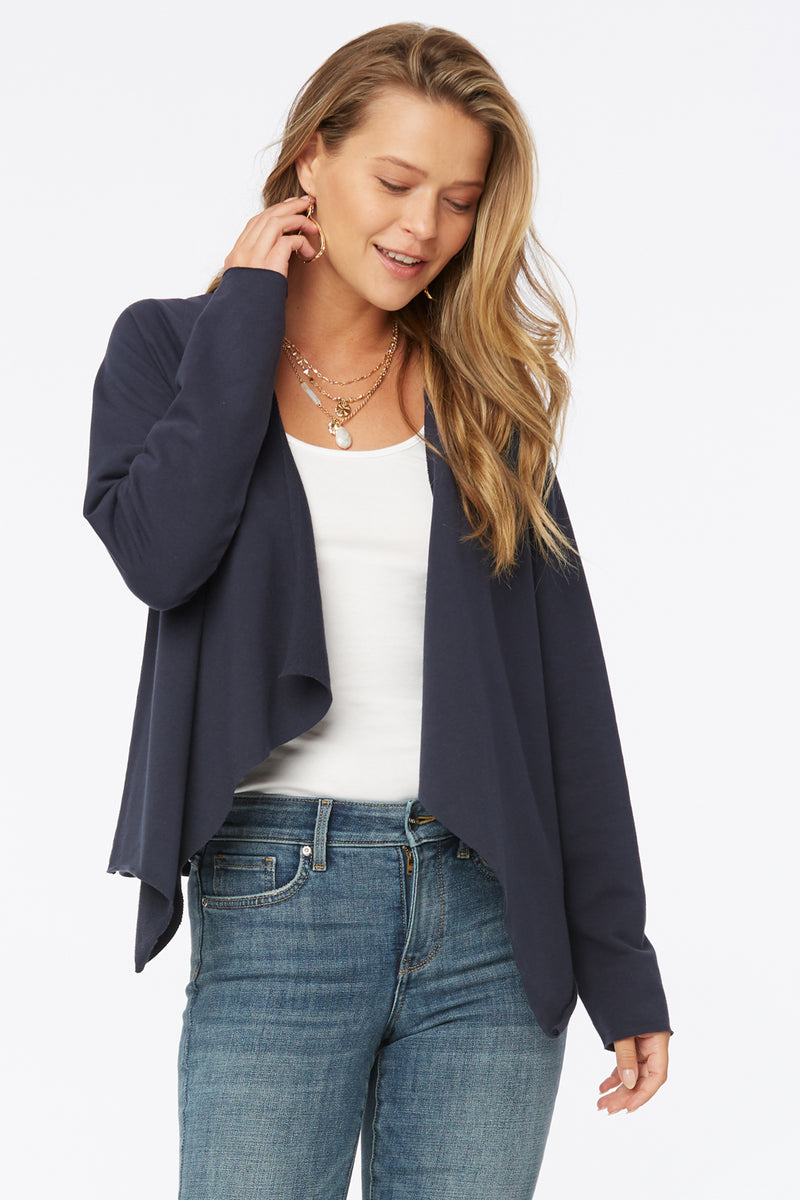 Open Front Sweatshirt Jacket - Oxford Navy