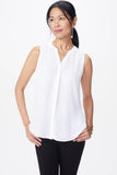 Sleeveless Pintuck Blouse - OPTIC WHITE