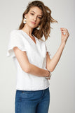 Flounce Sleeve Blouse - OPTIC WHITE