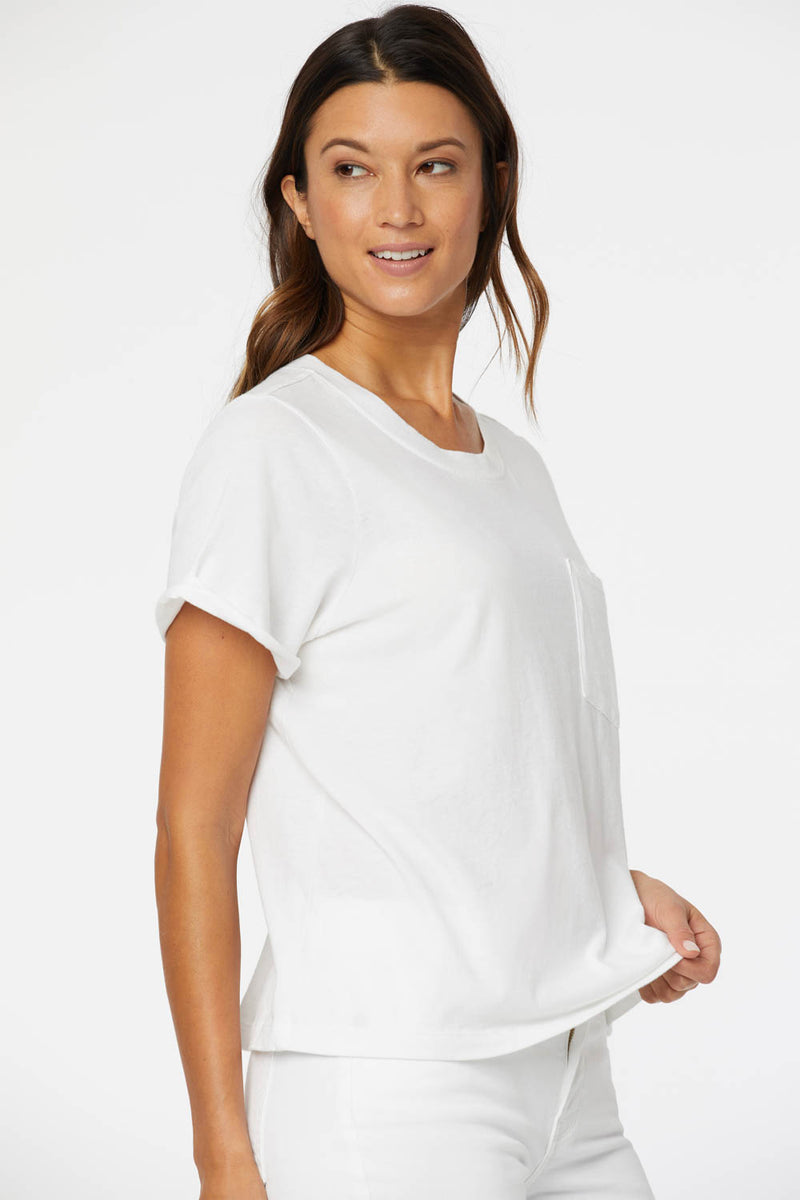 Cuffed Crewneck Pocket Tee - OPTIC WHITE
