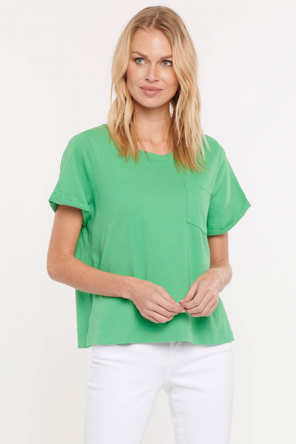 Cuffed Crewneck Pocket Tee - Clover